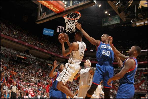 Rashard Lewis goes up for a basket