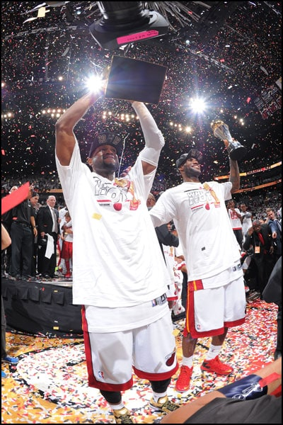 331e915ebb08 Dywane Wade holds up the Larry O Brien trophy and LeBron James holds up the