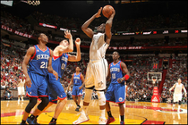 Joel Anthony goes up for a basket against the Philadelphia 76ers