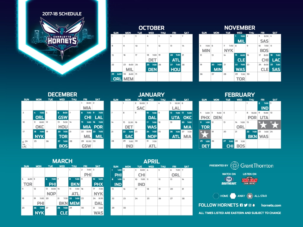 Hornets Full Season Schedule Download By Resolution 1920x1080
