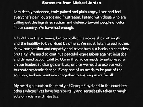 Statement from Michael Jordan - 5/31/20