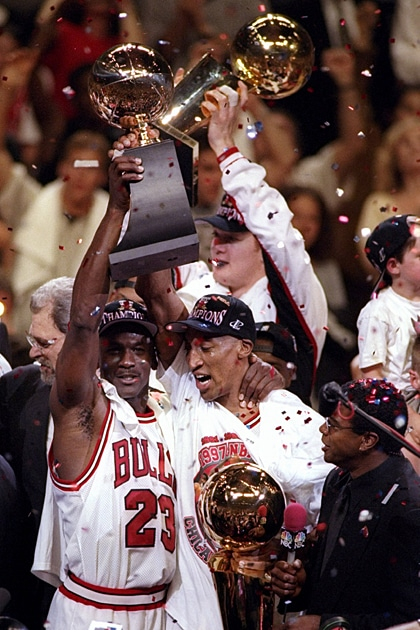 CHICAGO 1997 Michael Jordan 23 And Scottie Pippen Of The Chicago Bulls Celebrate