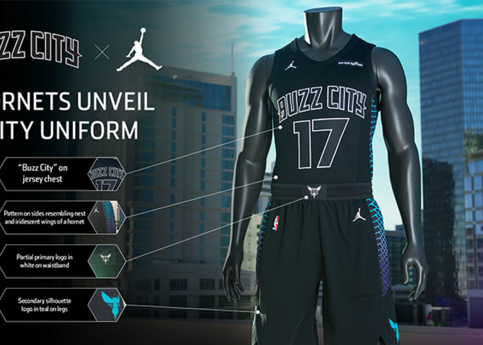 5399e1b40abe The Charlotte Hornets unveiled their fifth and final uniform for the  2017-18 season,