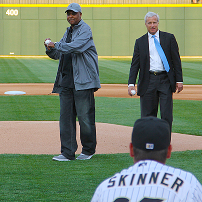 Whitfield Throws First Pitch