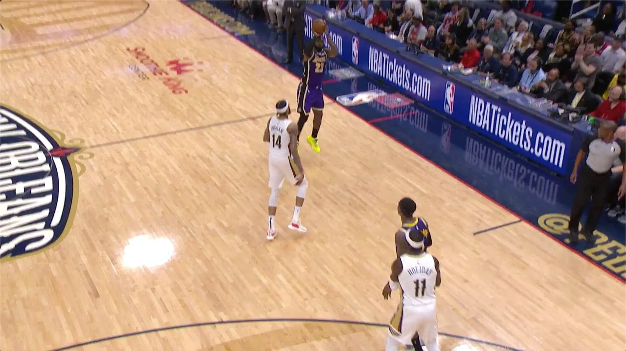 LeBron James pulls up for 3 from just inside halfcourt