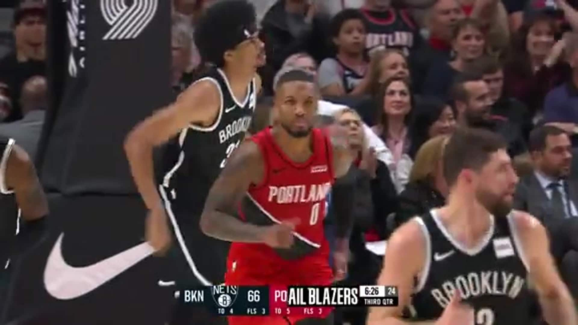 Damian Lillard Franchise Record 60 Points vs. Brooklyn Nets