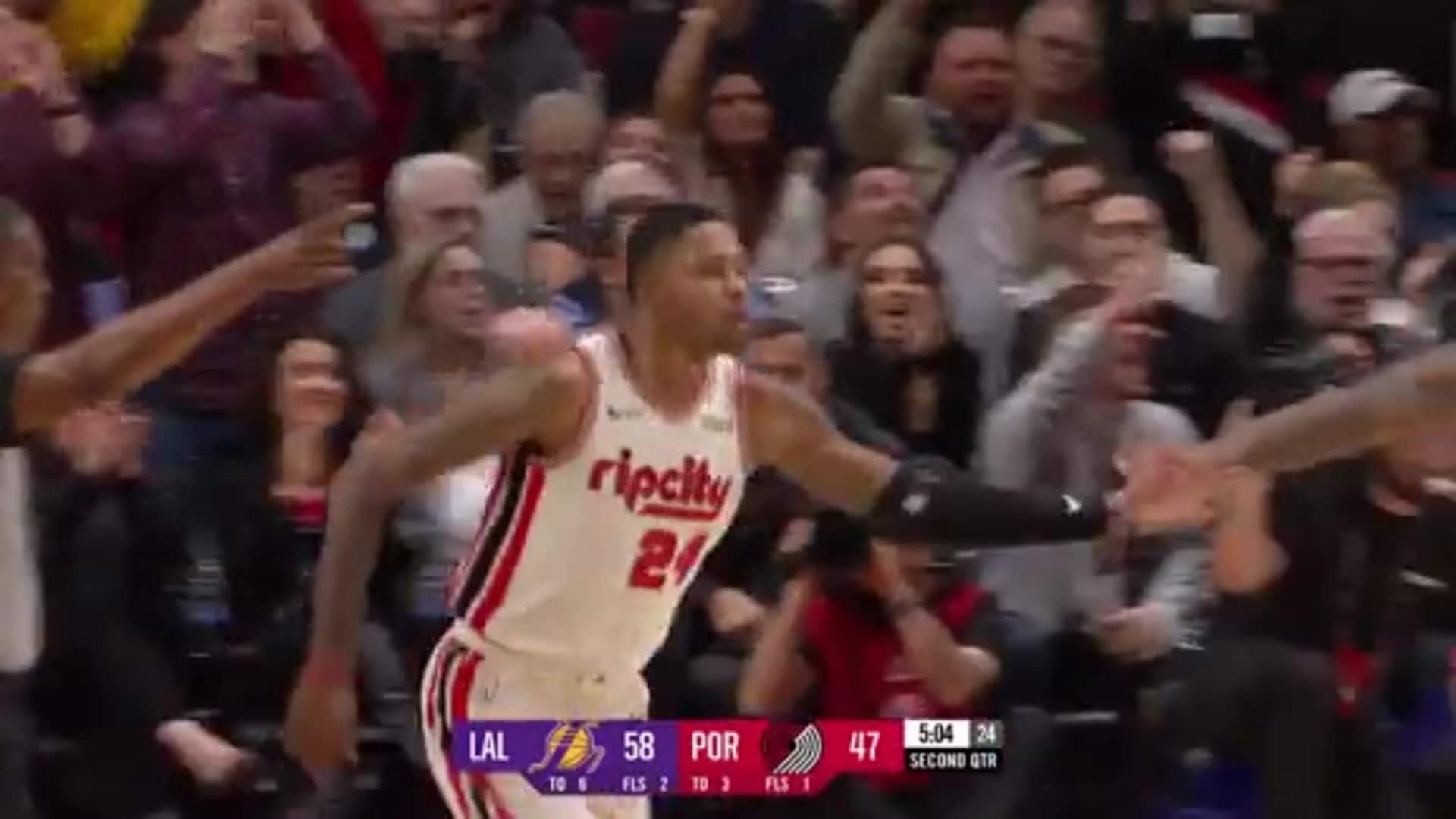 CJ McCollum with a dime to Kent Bazemore on the fast break