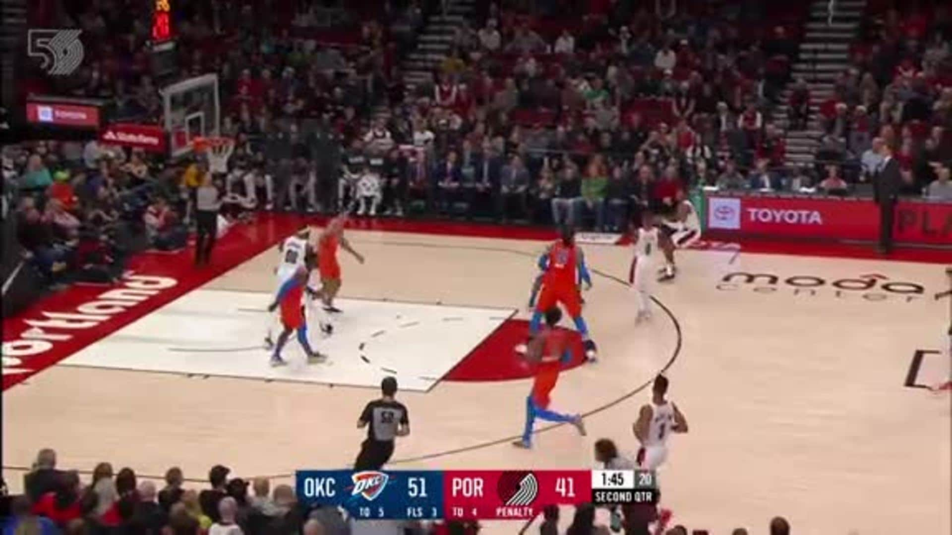 Bazemore and Anthony bookend a Whiteside block with threes