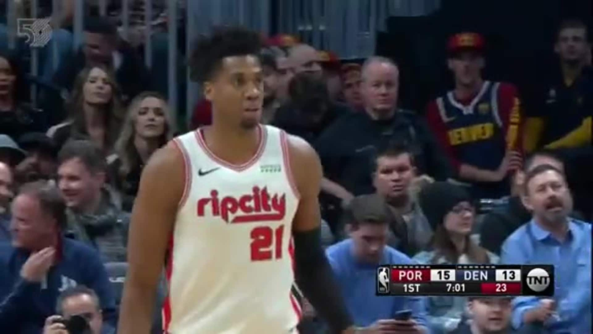 Hassan Whiteside buries a three en route to 11 points early vs. Denver