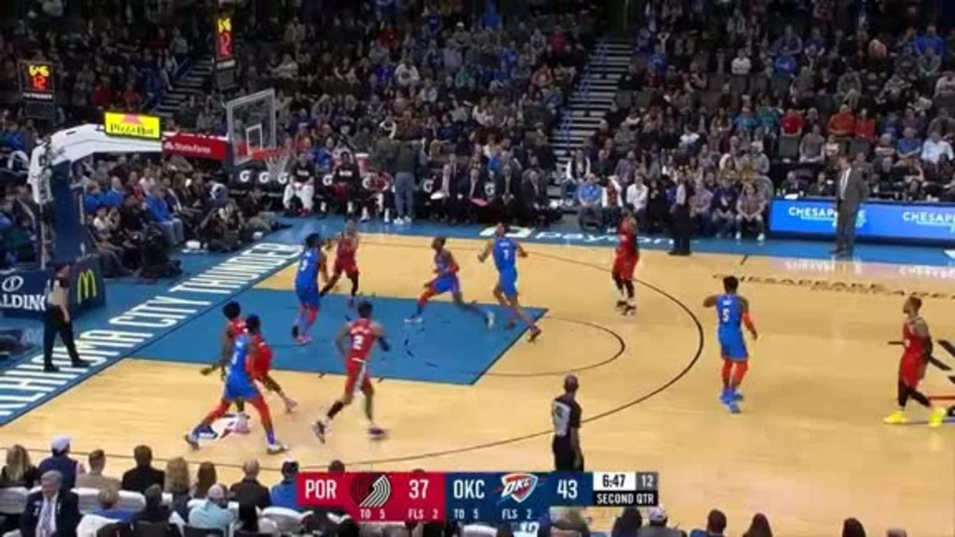 Anfernee Simons gets up for the dunk in the first half vs. OKC