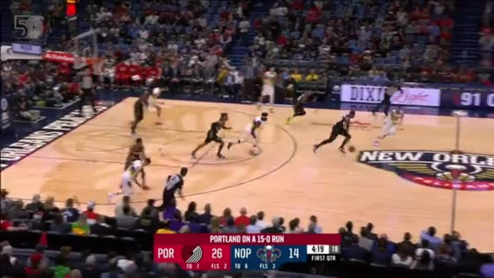 Carmelo picks off the pass and finishes strong on the other end