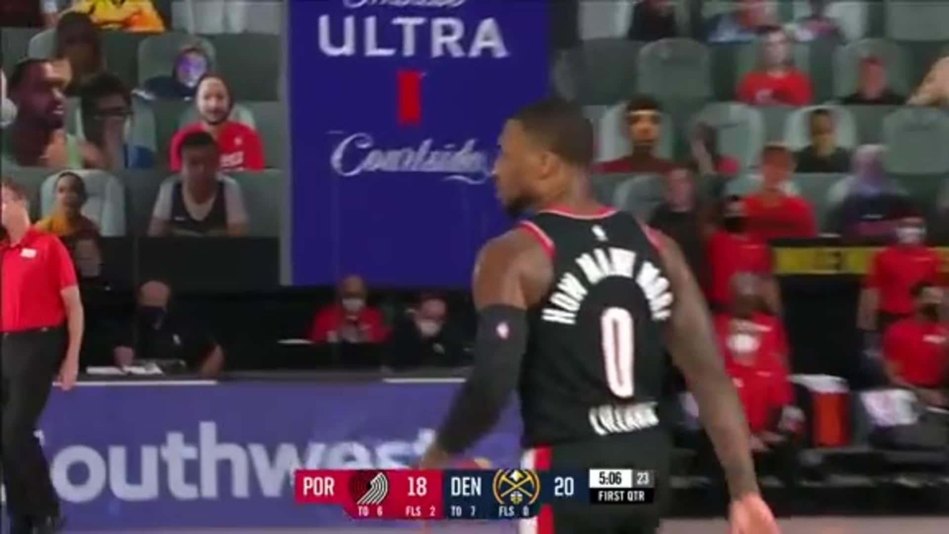 Damian Lillard is on fire early with two deep threes