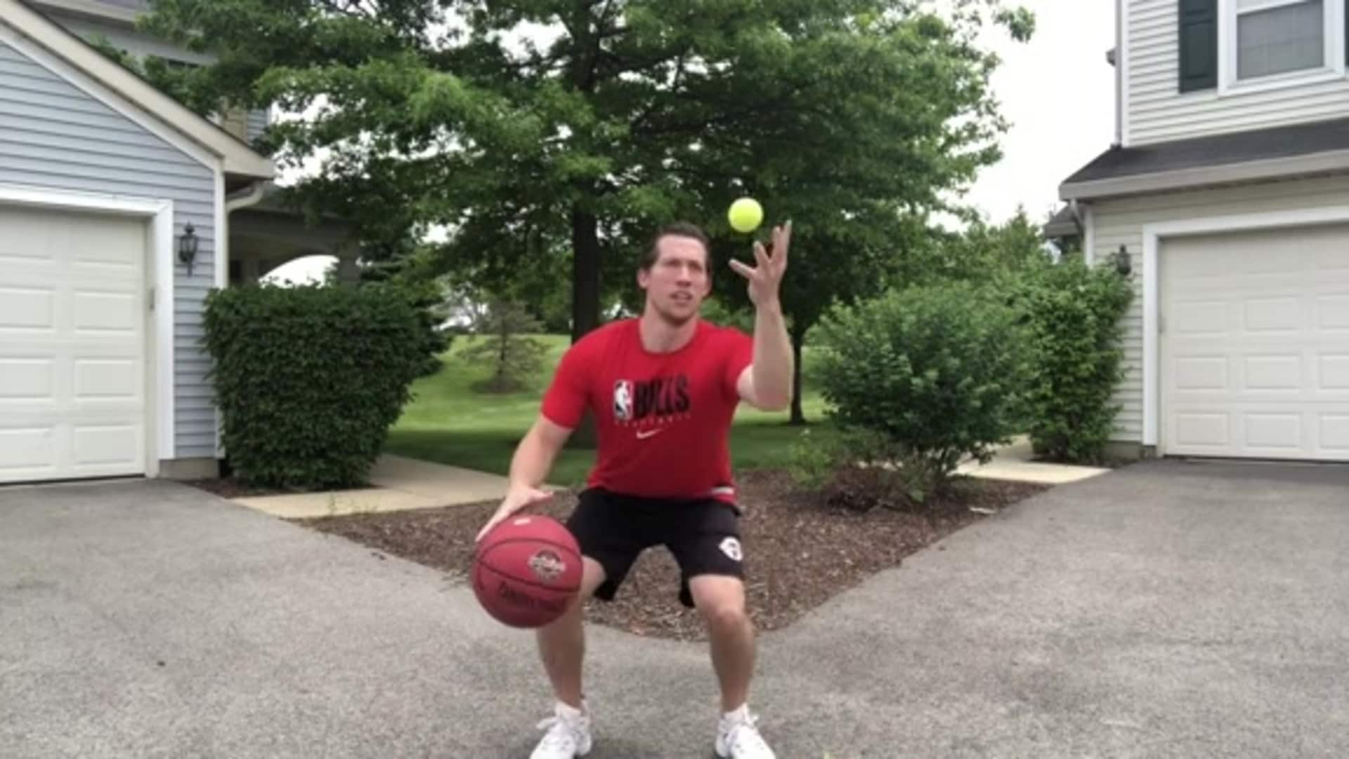 Youth Hoops Basketball Skills At Home: Crossover with Tennis Ball Toss