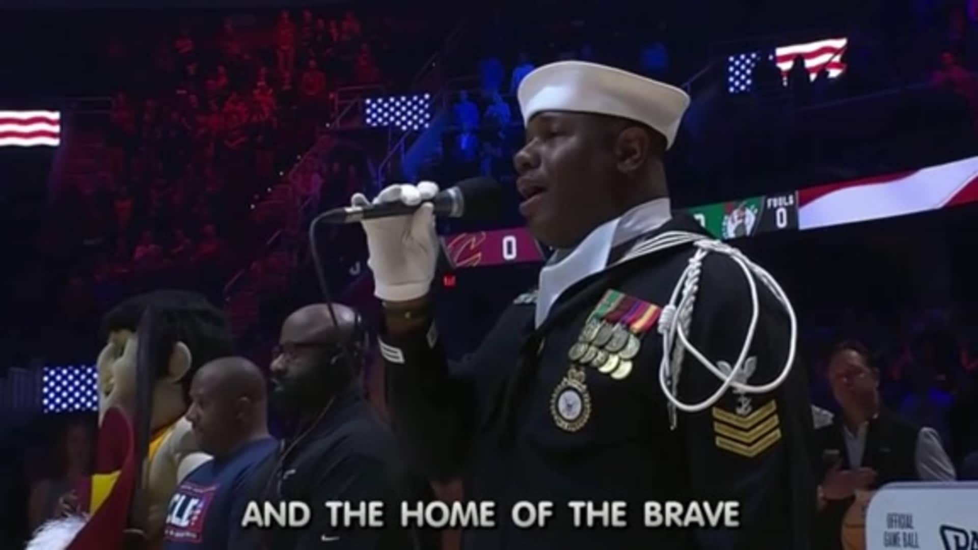 Watch the National Anthem from Salute to Service Night