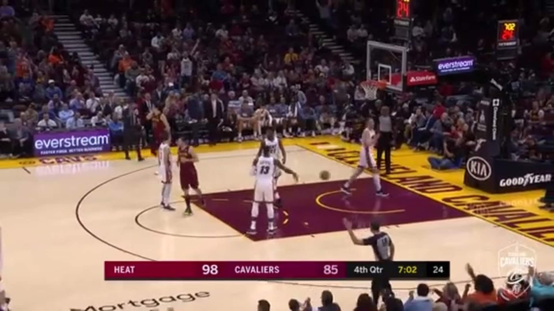 Kevin Love Knocks Down Back-To-Back Threes to Cut into Miami Lead