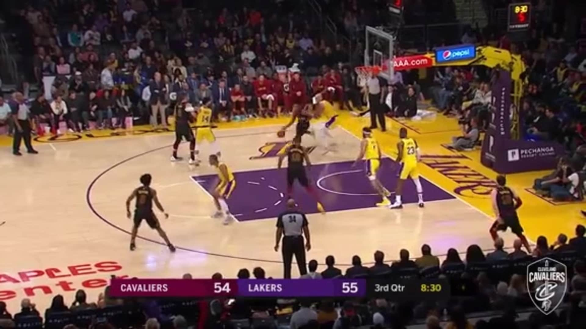 Garland Goes Up-and-Under for Lay-Up