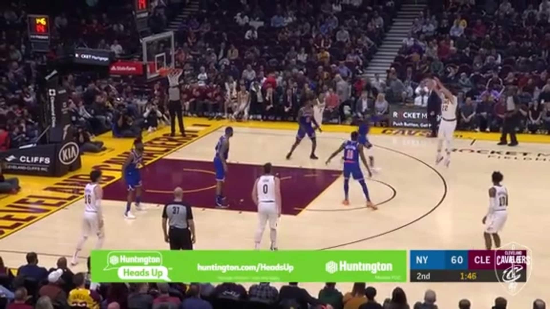 Sexton's Behind-the-Back Pass to Nance for Three
