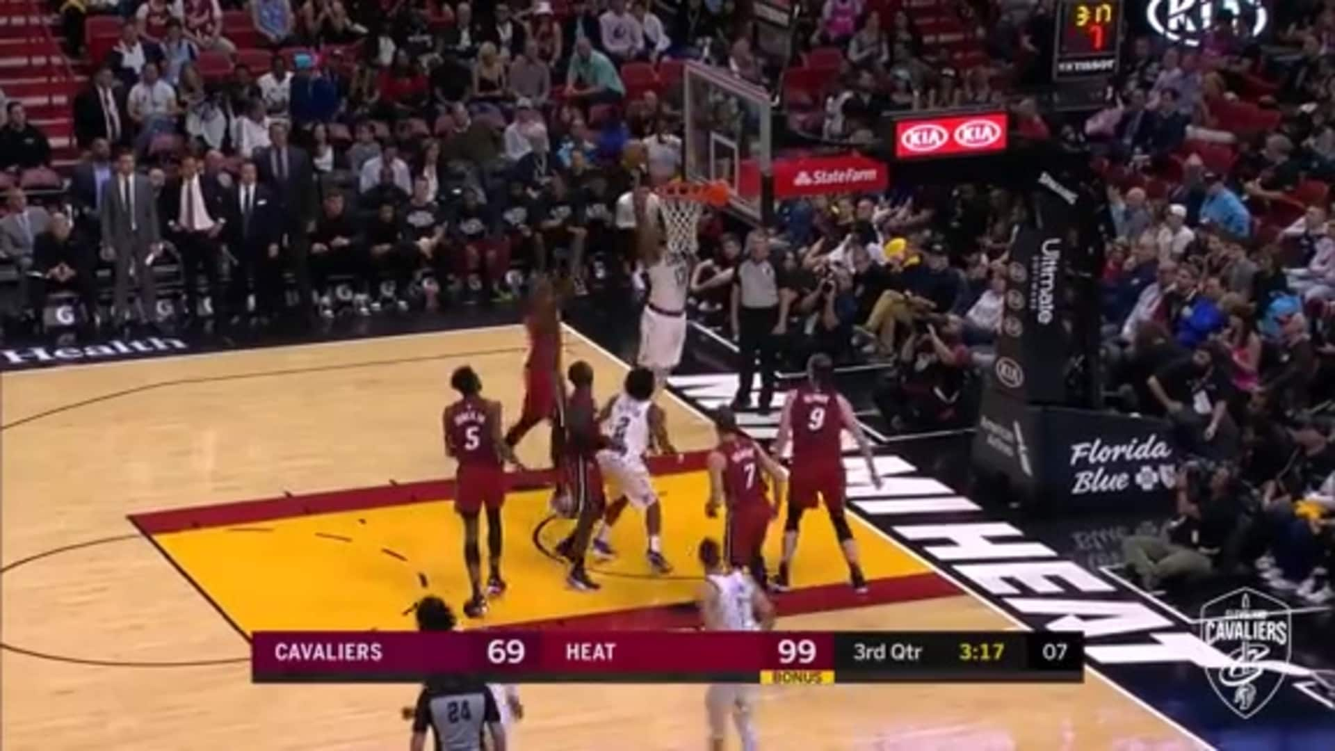 Thompson Follows Miss with Tip-In