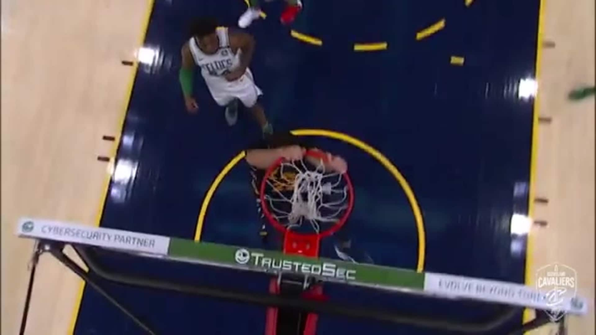 Nance Recovers Loose Ball, Dunks it Home with Two Hands