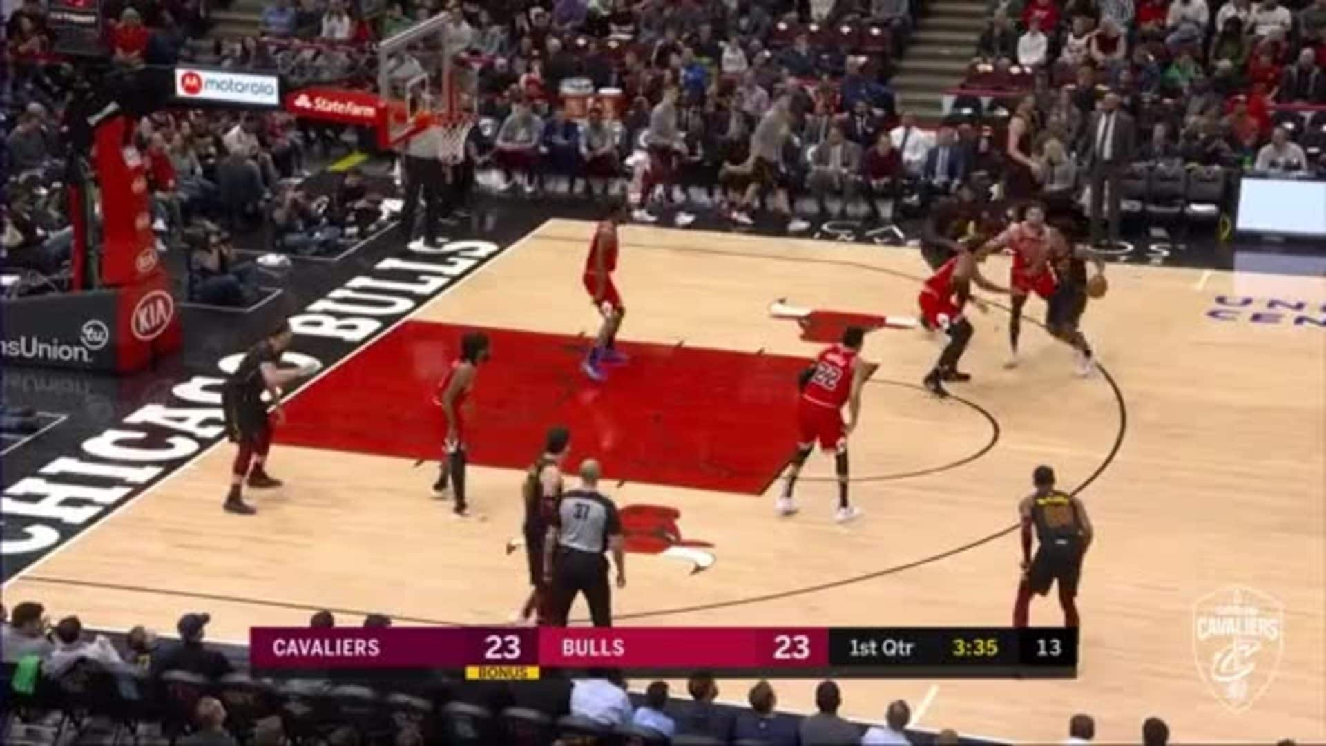 Sexton Goes Inside to Nance for Dunk