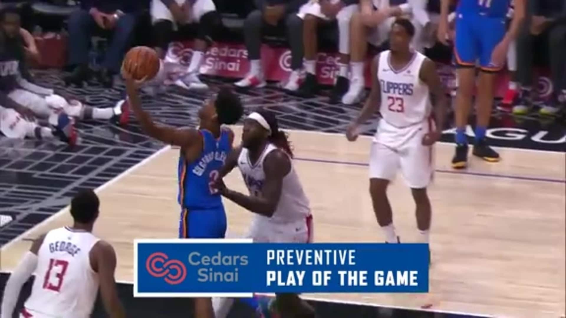 Cedars-Sinai Preventive Play of the Game | Clippers vs. Thunder (11.18.19)