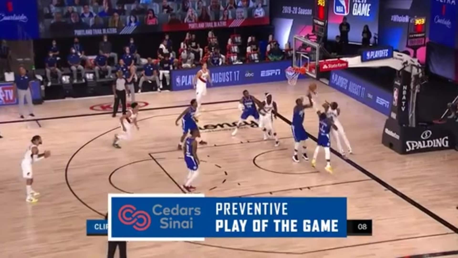Cedars-Sinai Preventive Play of the Game | Clippers vs. Trail Blazers (08.08.20)