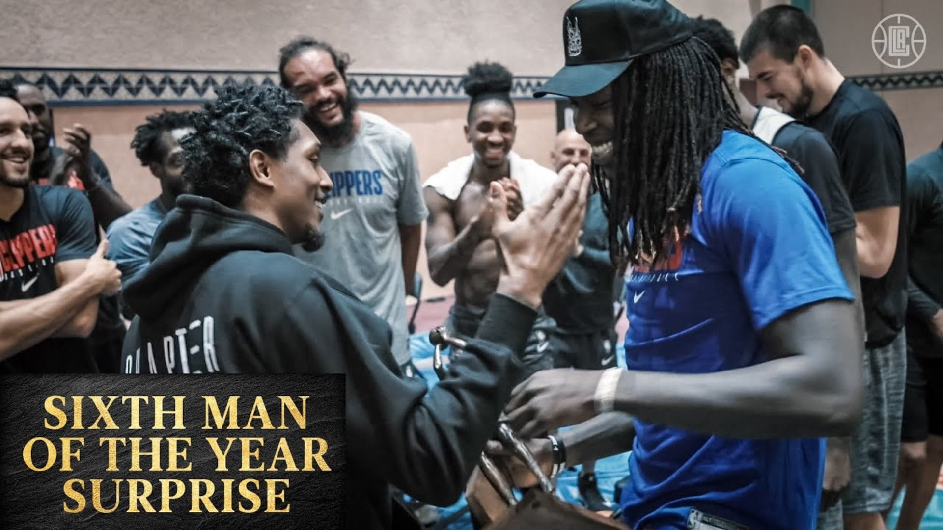 The Team Surprises Montrezl Harrell with the Sixth Man of the Year Trophy