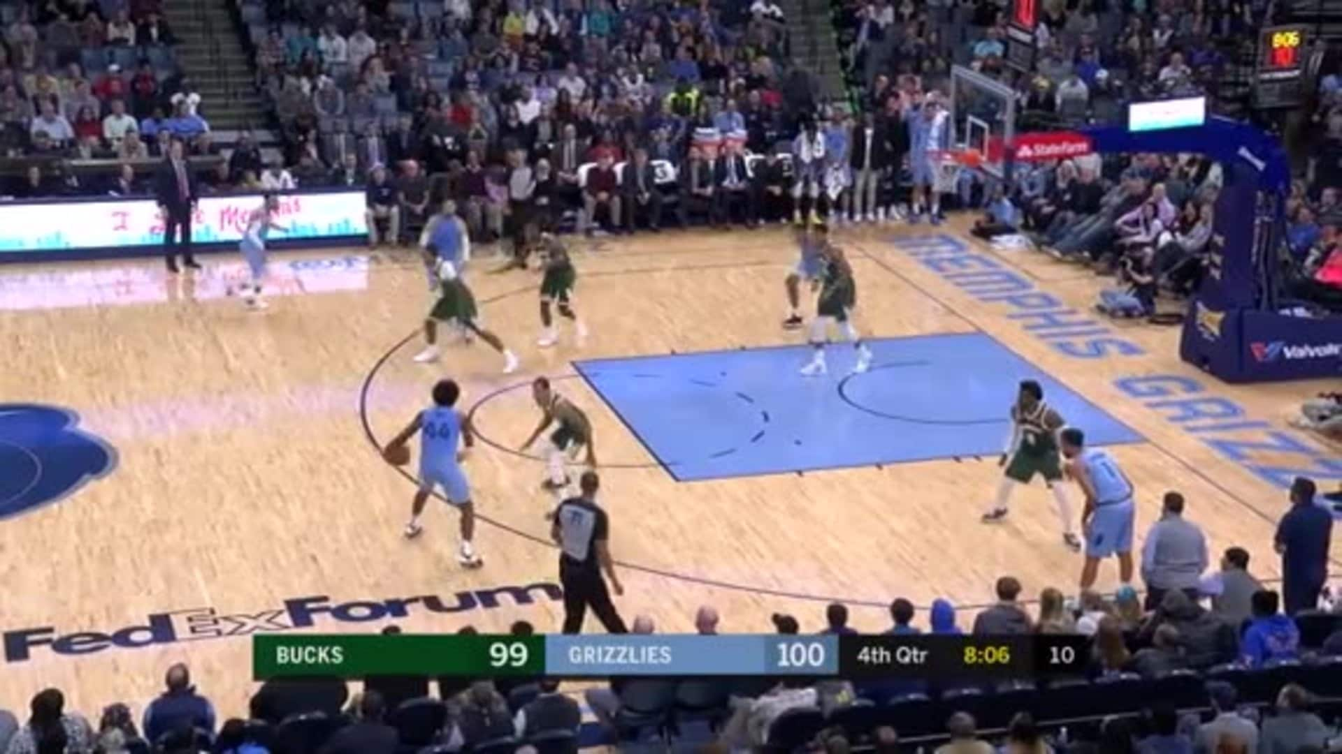Dillon Brooks nails the looooong fadeaway jumper