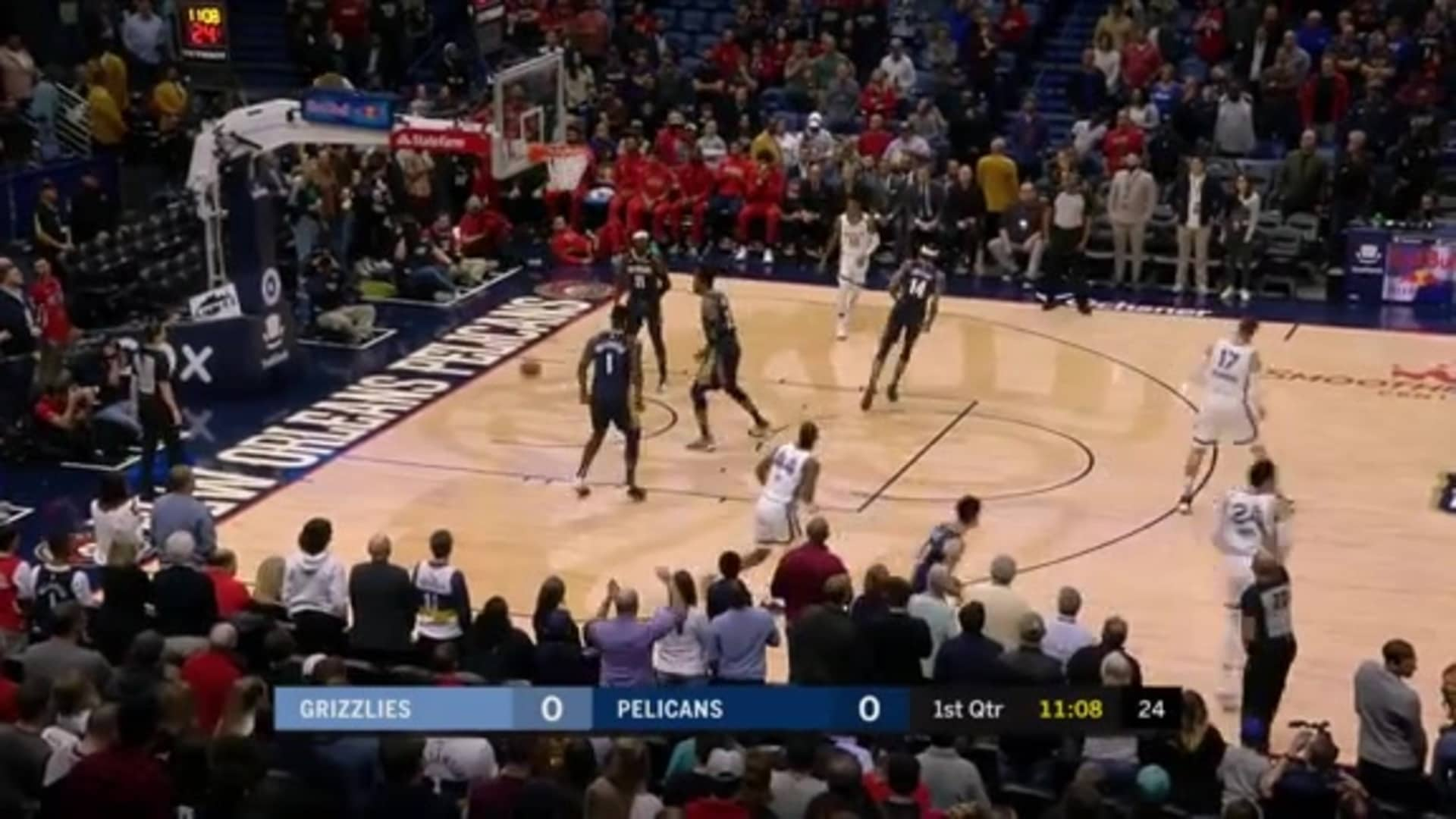 Dillon Brooks gets things started with an early 3