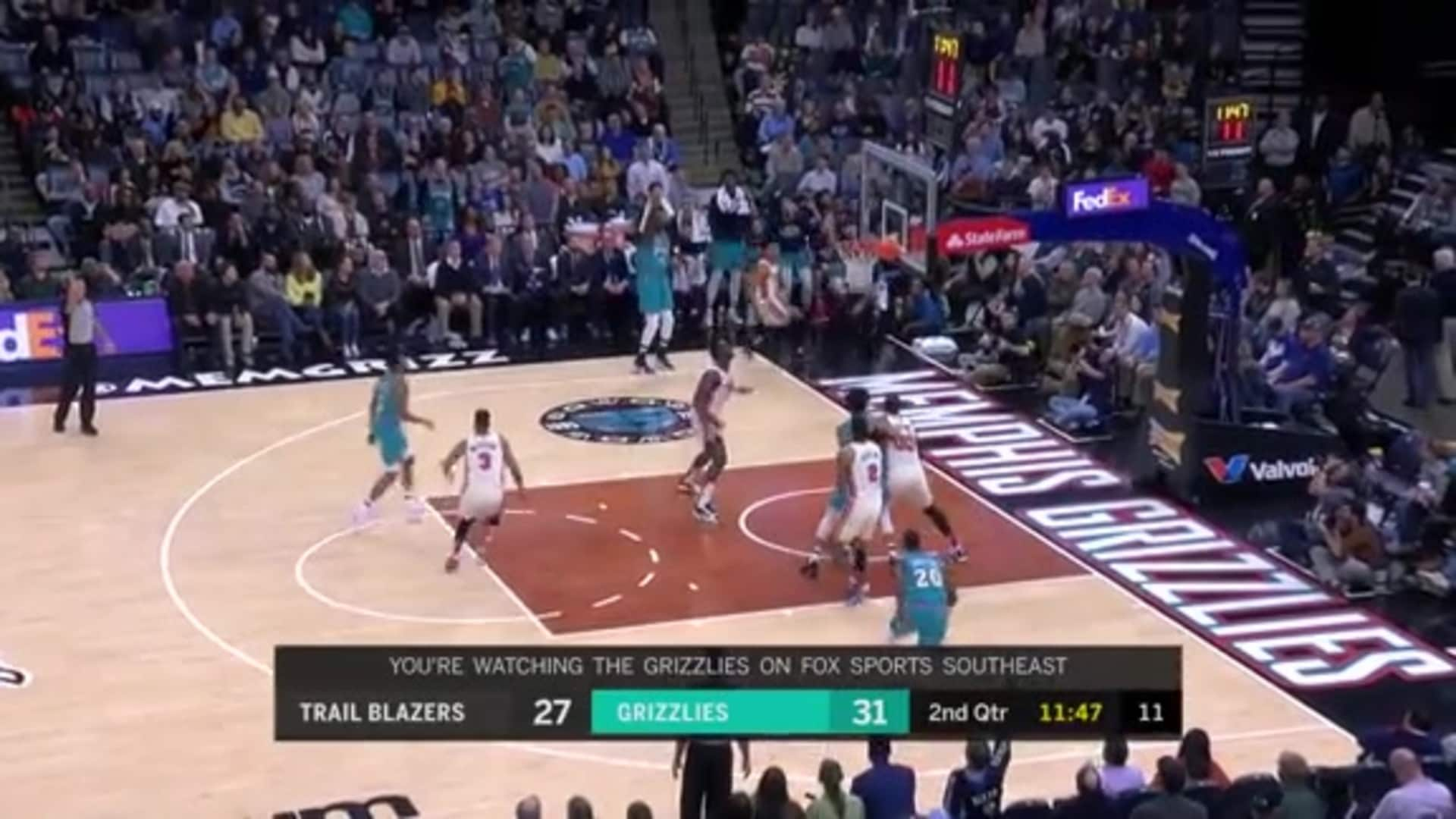 Gorgui Dieng scores his first bucket with the Grizzlies