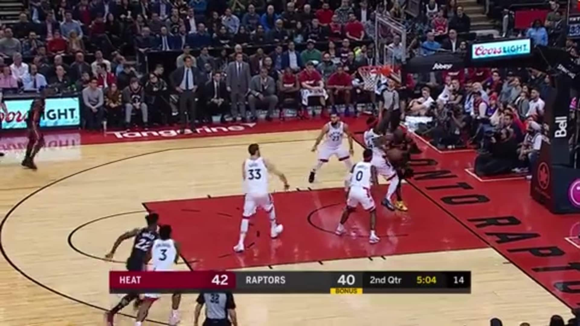 Bam Muscles Past Siakam for the Put-back Reverse Layup