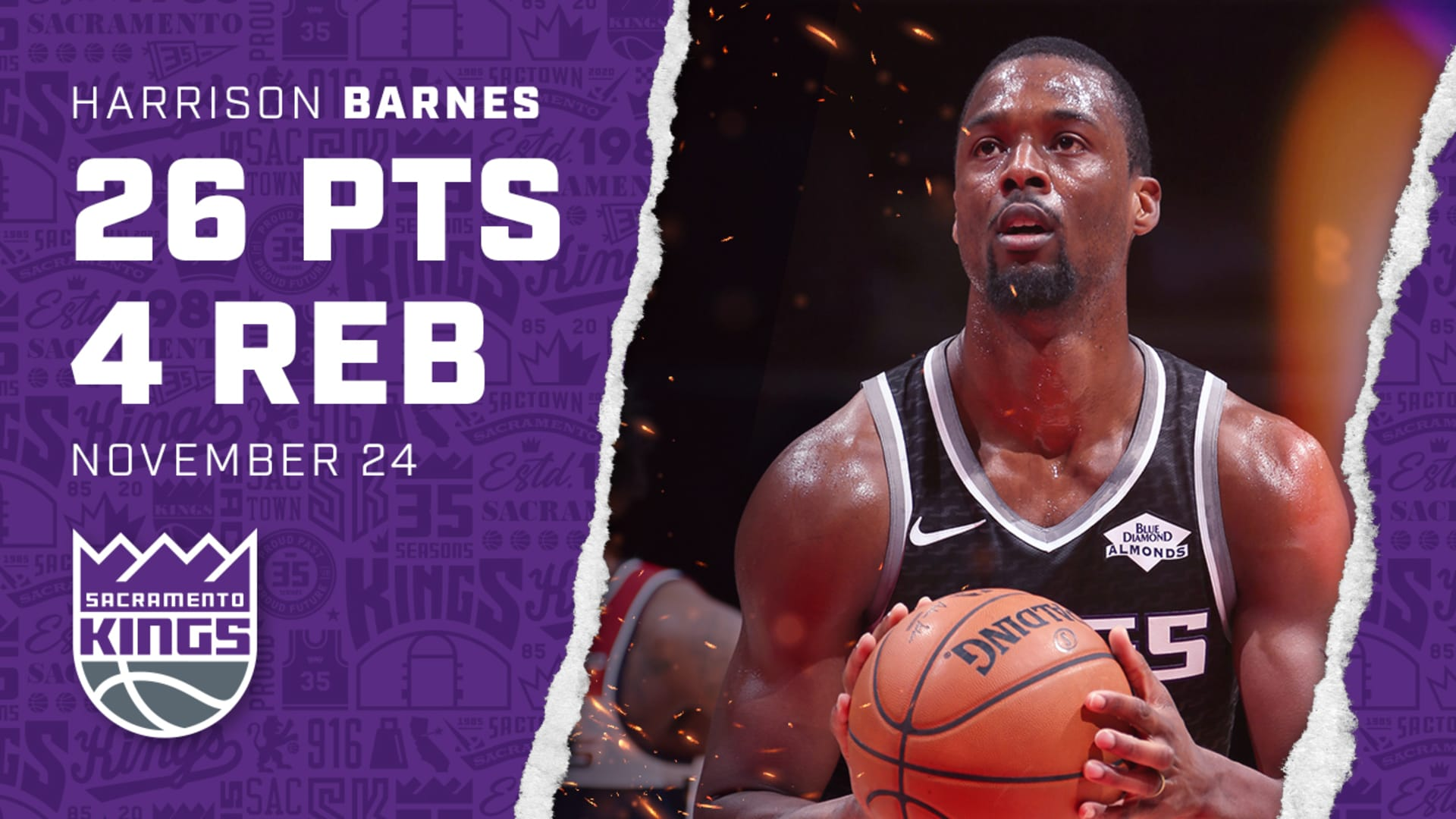 Harrison Barnes is Charged Up in WIN | Kings vs Wizards