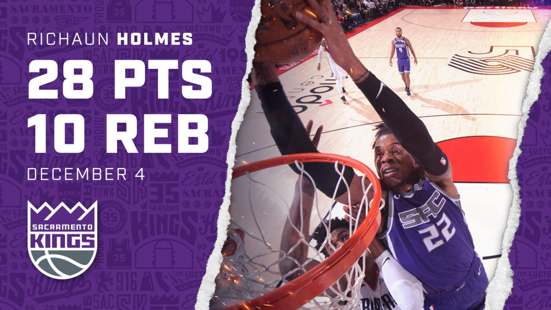 Richaun Holmes sets a NEW CAREER HIGH with 28 PTS in Portland!