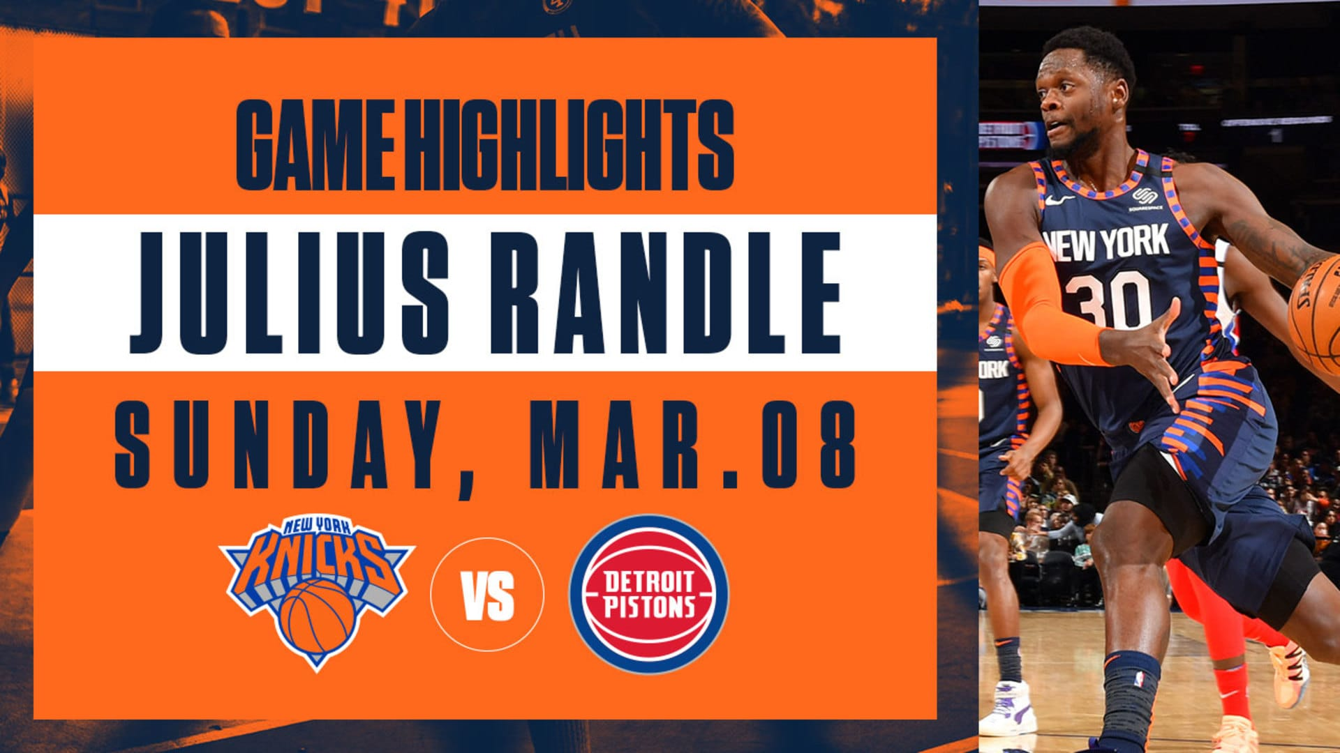 Highlights: Julius Randle (22 Pts / 12 Reb) | Knicks vs. Pistons