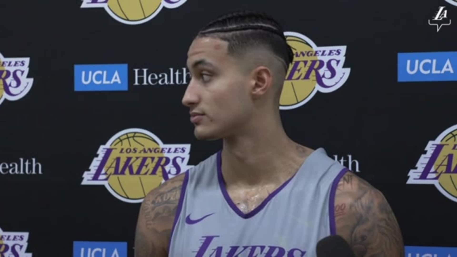Kyle Kuzma gives an update on his eye abrasion and a preview for his new specs