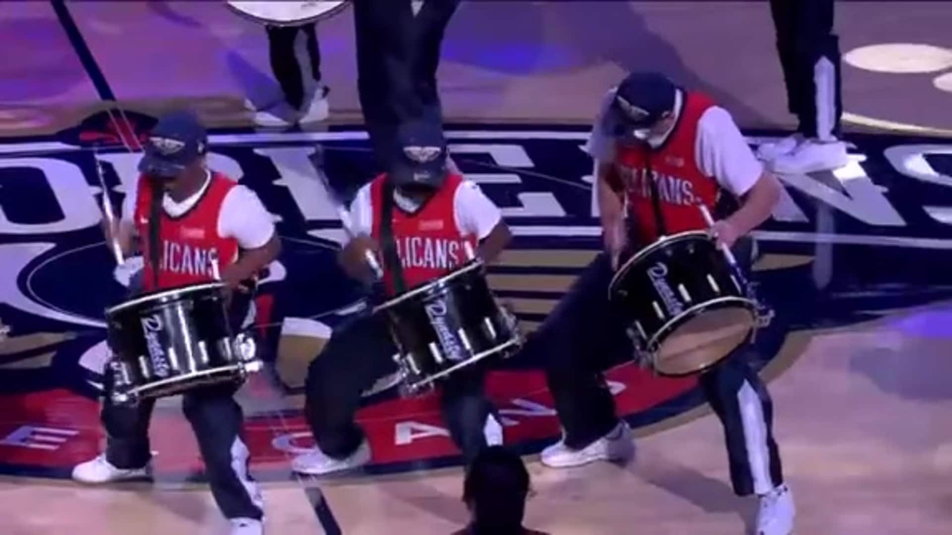 Entertainment: Pelicans Drum Line 1st Quarter Performance - October 25, 2019 vs Mavericks