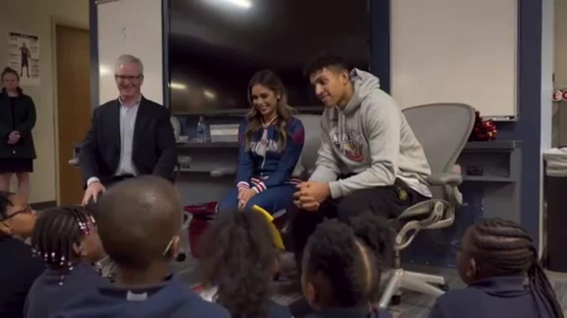 Pelicans Frank Jackson joins students at ACME Reading Timeout