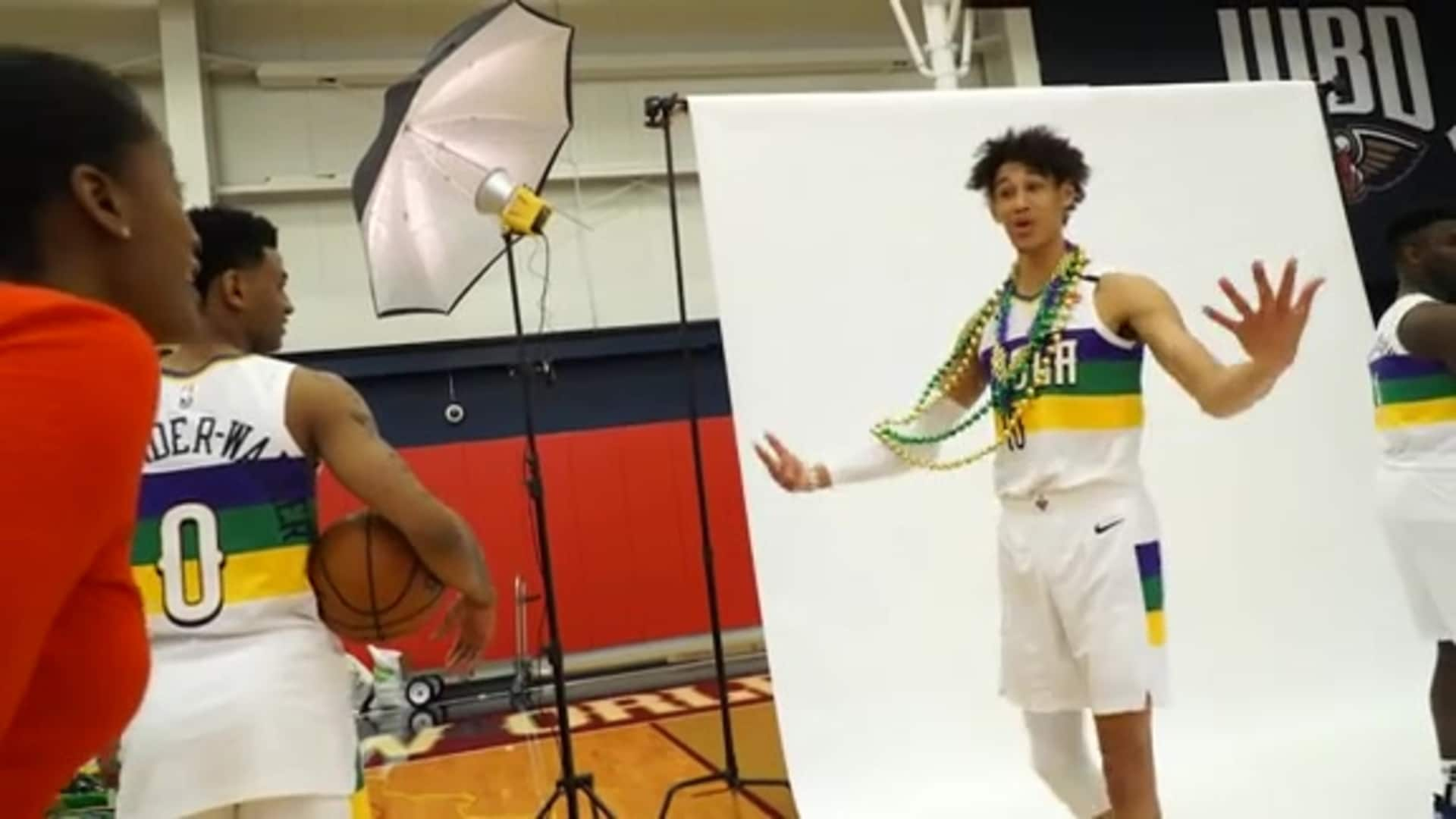 Behind-the-scenes: Pelicans City Edition uniform photo shoot 2020