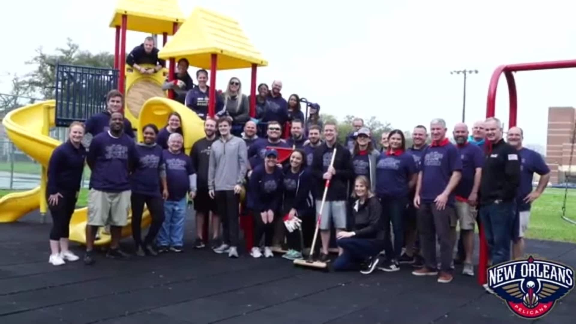 Pelicans cleaned up A.L. Davis Park in partnership with NORD and Sprite in support of Black History Month