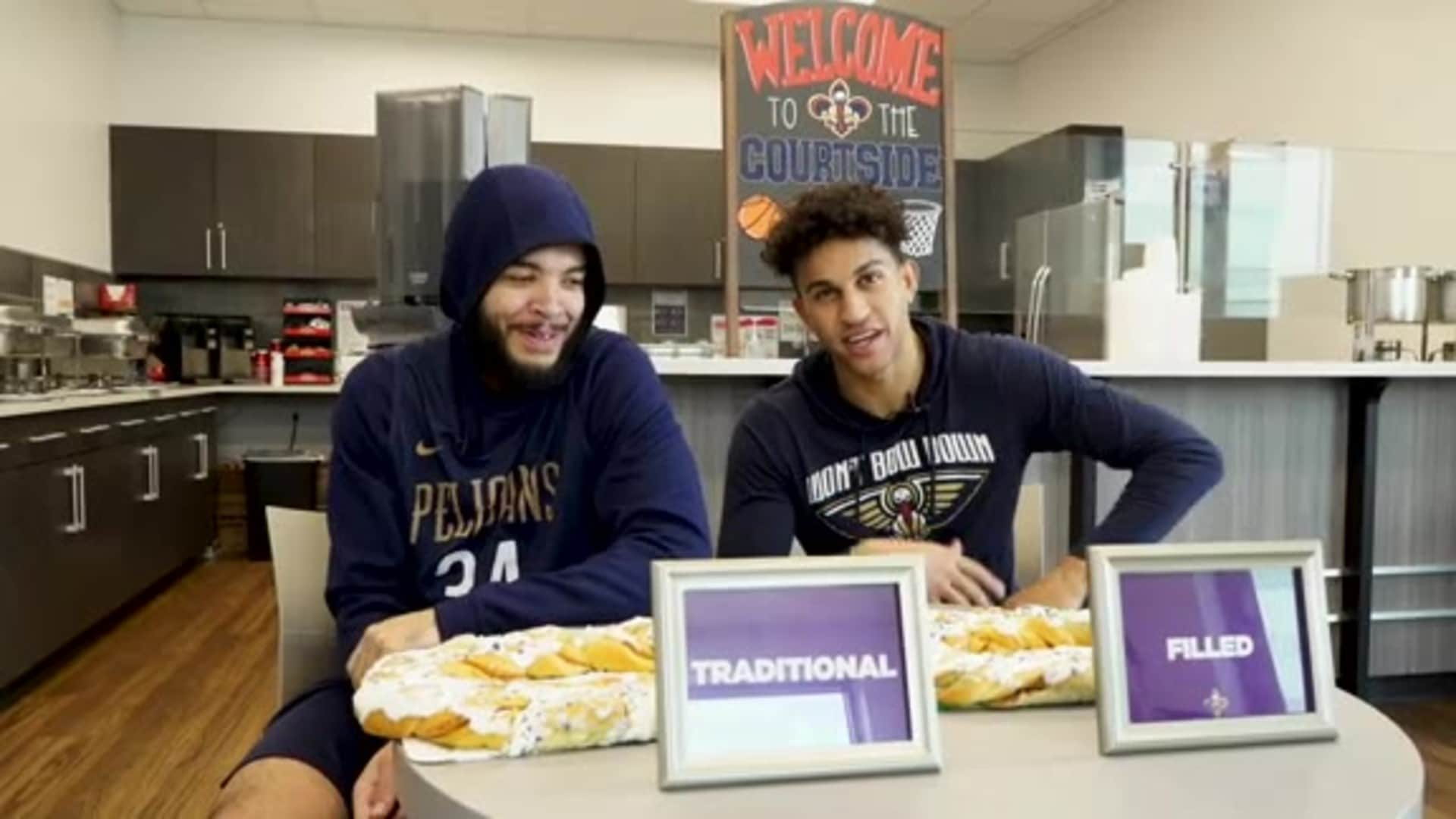 Pelicans players answer the age old king cake question - Traditional or Filled?