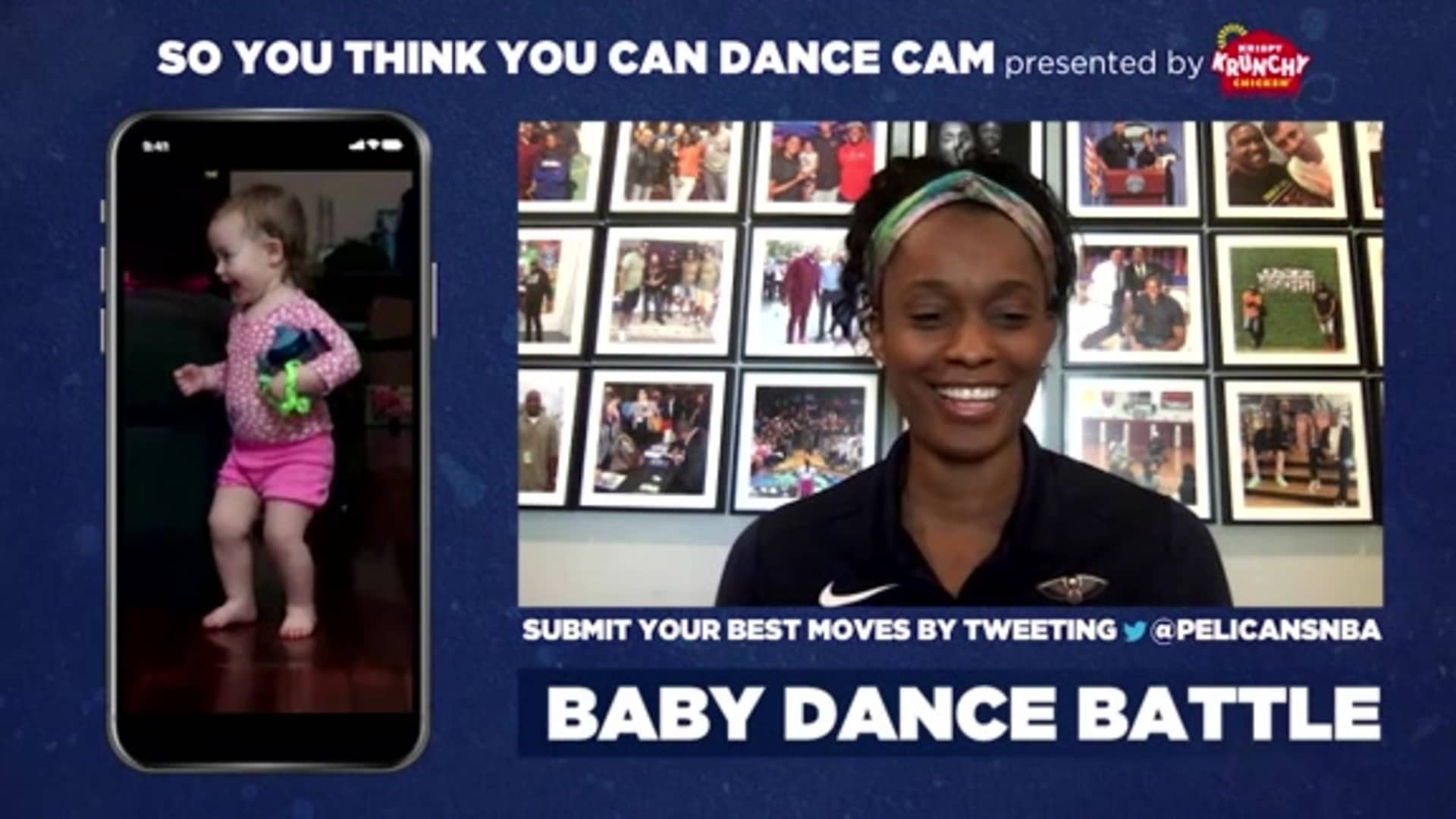 Pelicans Playback: Swin Cash judges our Baby Dance Cam presented by Krispy Krunchy Chicken