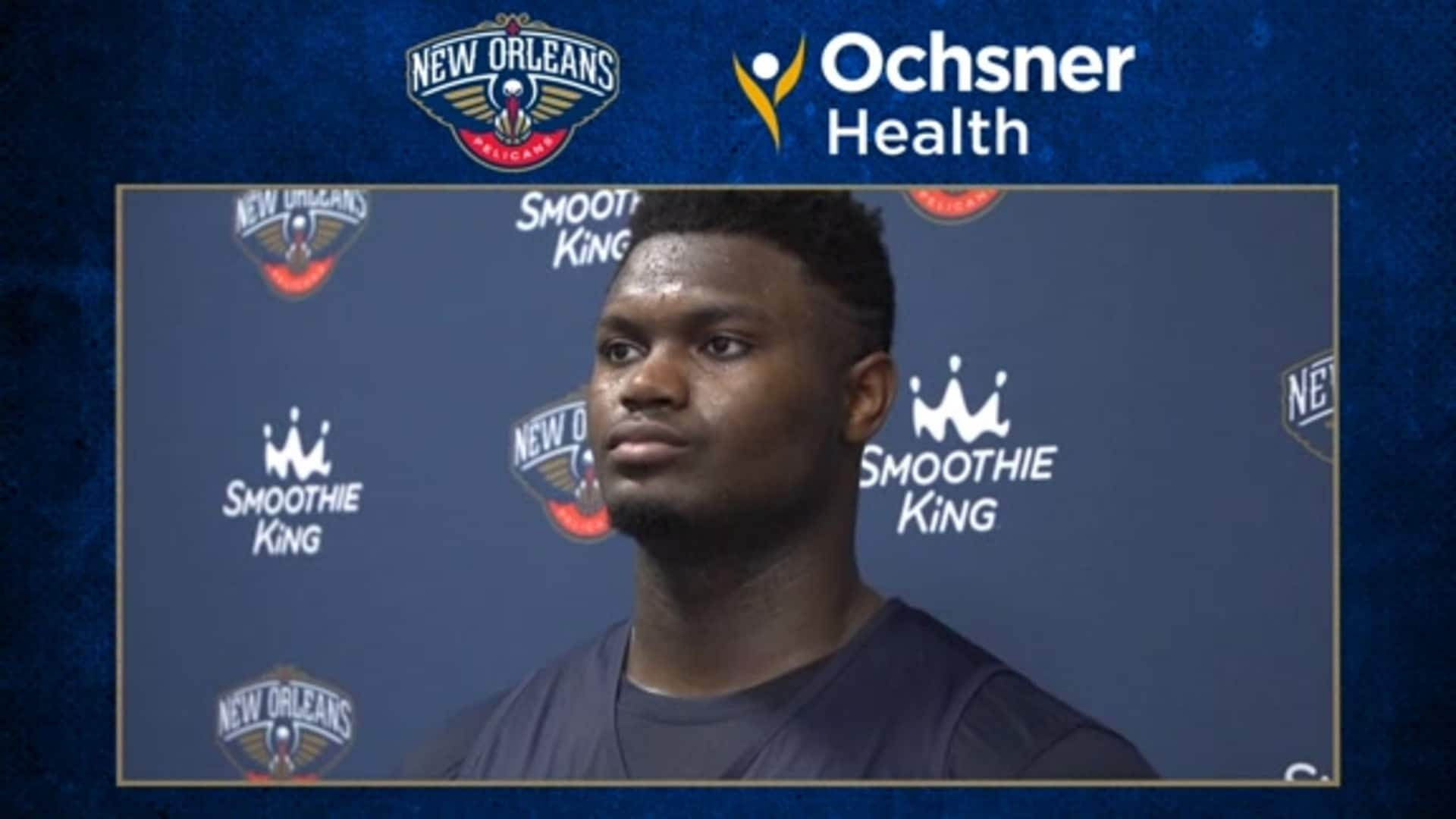 Pelicans Practice: Zion Williamson interview after first practice in Orlando