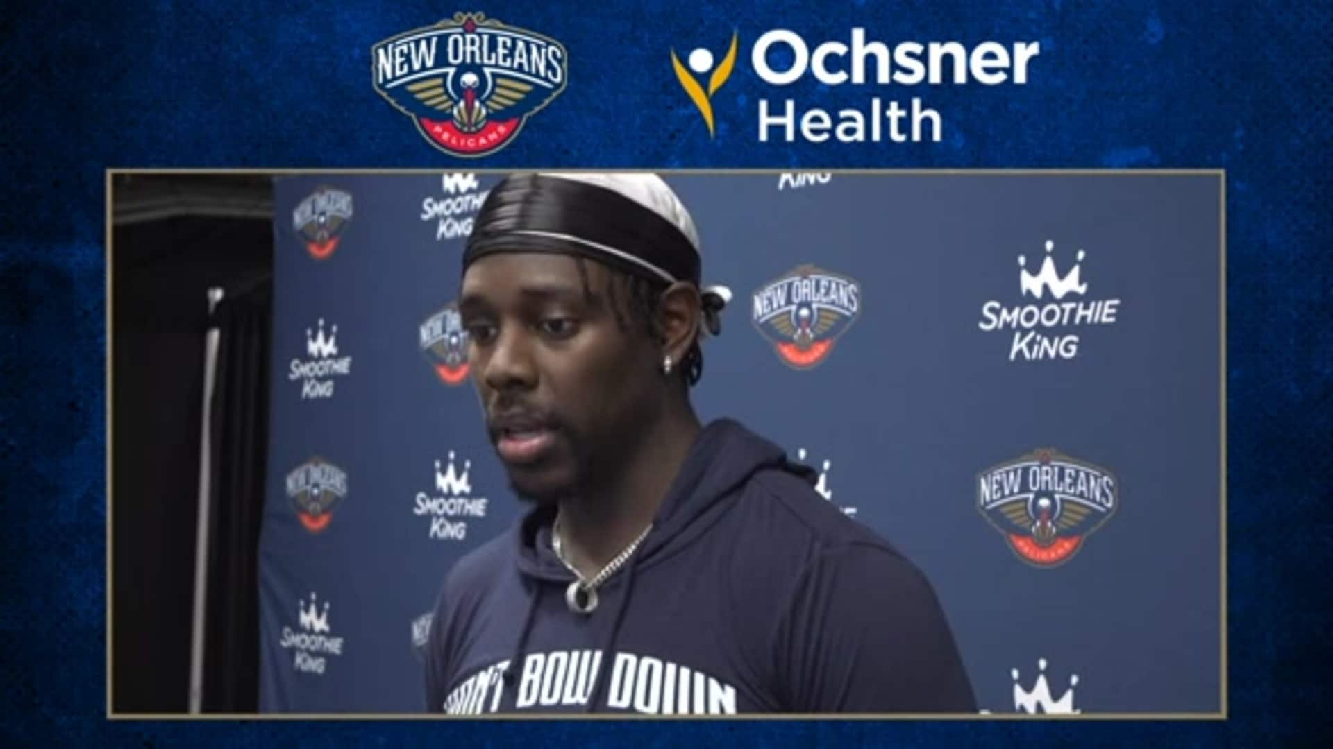 Pelicans Practice: Jrue Holiday interview after first practice in Orlando