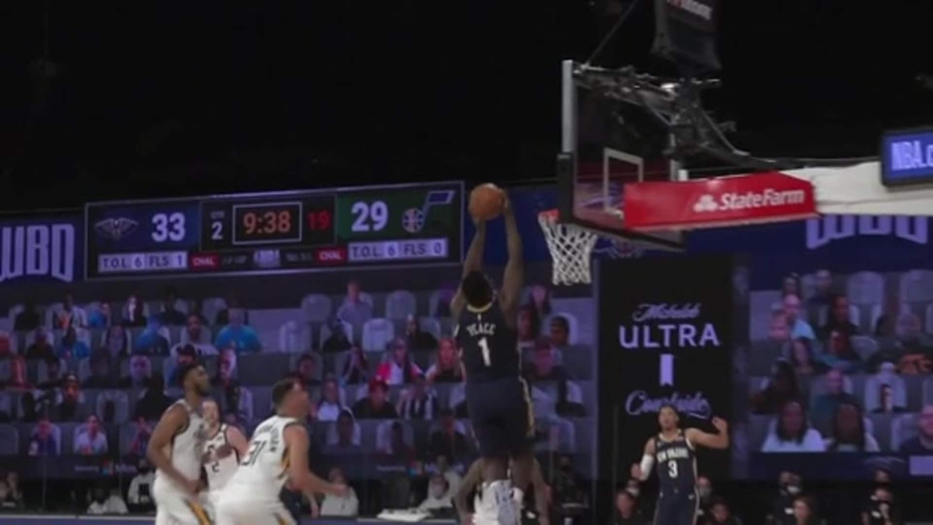 Pelicans vs. Jazz Slo-Mo Highlights: Lonzo Ball alley-oop lob to Zion Williamson