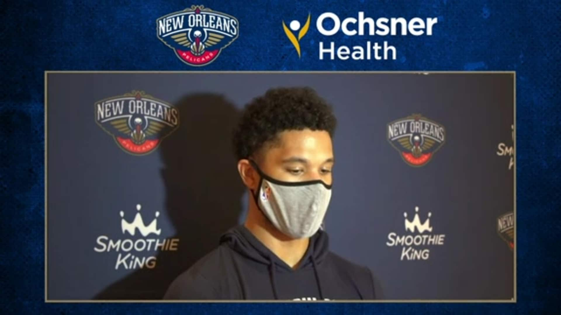 Josh Hart discusses his thoughts on the season and the play of teammates Lonzo Ball and Brandon Ingram | Pelicans Shootaround