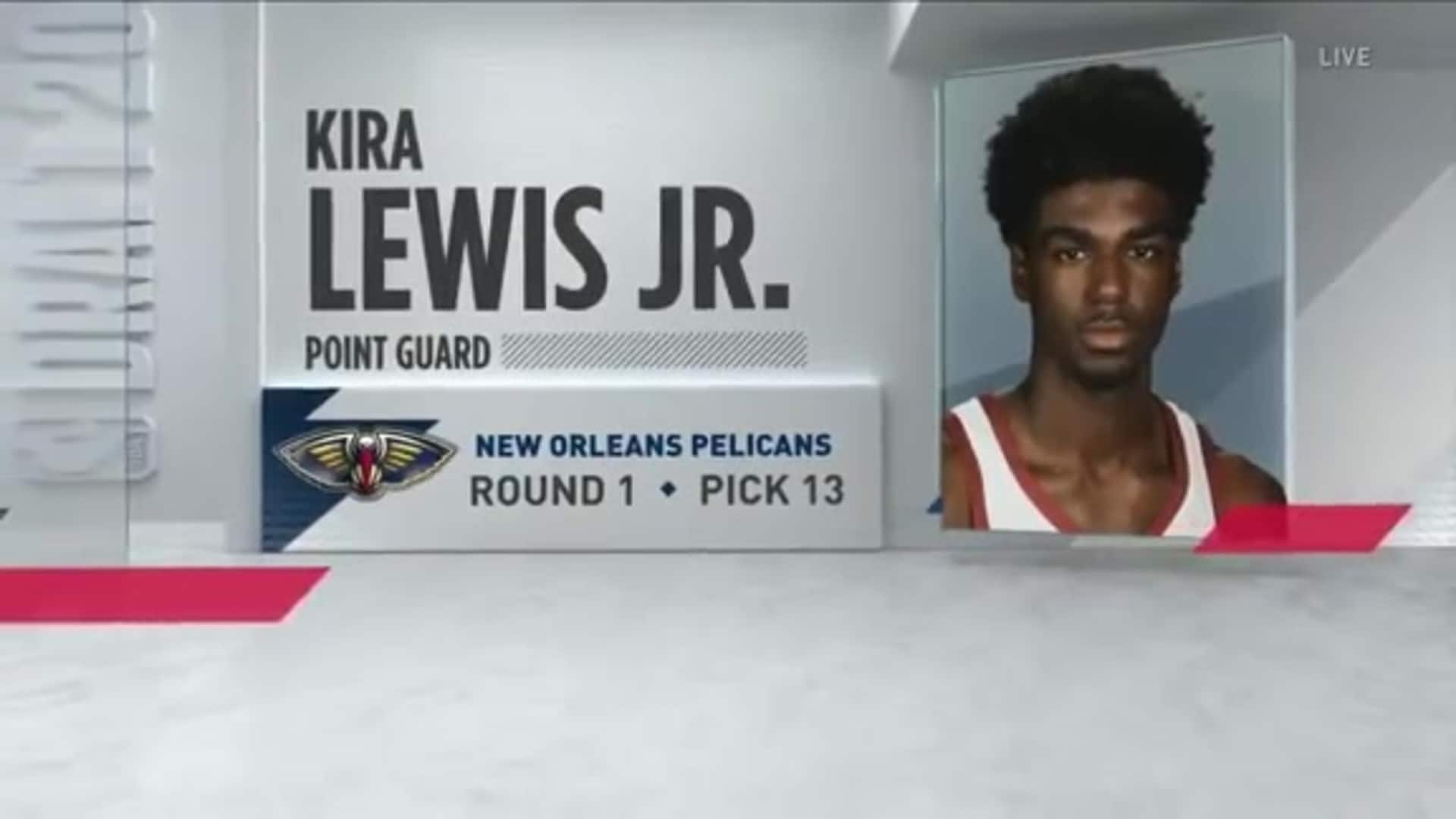 Kira Lewis Jr is announced as the 13th overall pick in the 2020 NBA Draft to the Pelicans