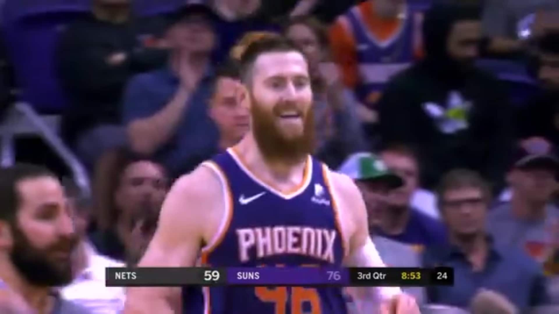 Booker Feeds Baynes in the Paint