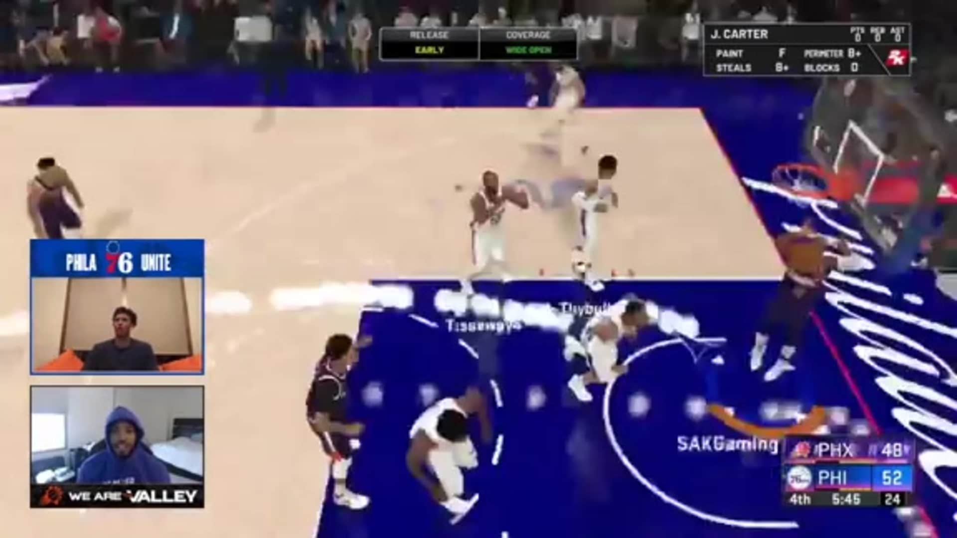 Mikal Bridges Drains Three vs 76ers on 2K20