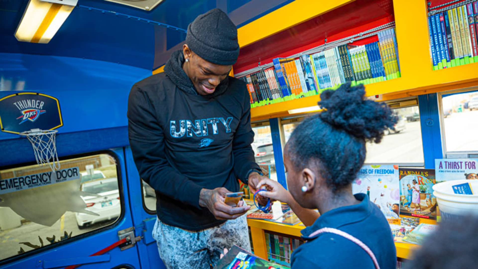 Dennis Schröder Boards Book Bus for BHM