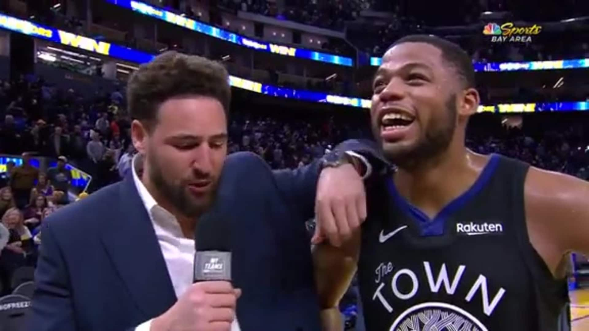 Postgame Warriors Talk: Klay Interviews Omari Spellman (NBCSBA) - 11/27/19
